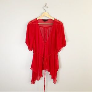 Elizabeth and James 100% Silk Red Kimono Short Sleeve Blouse Tie Waist Medium M